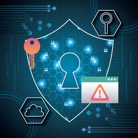 cyber security shield keyhole safety protection danger field cloud vector illustration