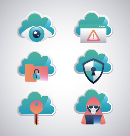 cyber security stickers safety clouds shield protection surveillance key hacker computer vector illustration