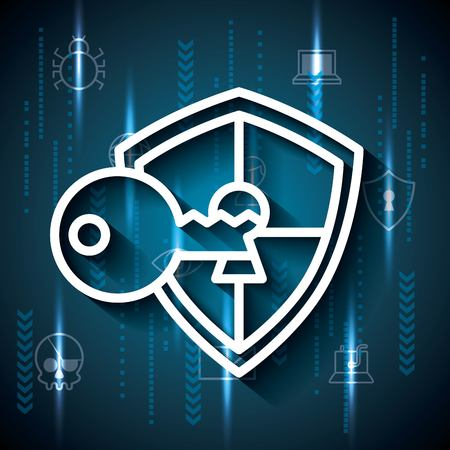 Cyber security locked key safety shield protection binary circuit vector illustration.
