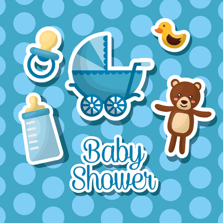 baby shower celebration bubble background boy born teddy babe carriage bottle milk vector illustration