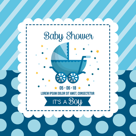 baby shower celebration background bubbles stripes blue babe carriage happy day vector illustration