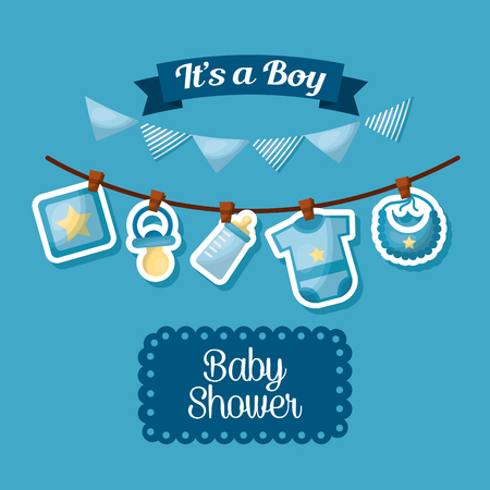 baby shower celebration its a boy happy born pennants babe clothes vector illustration 스톡 콘텐츠 - 100592412