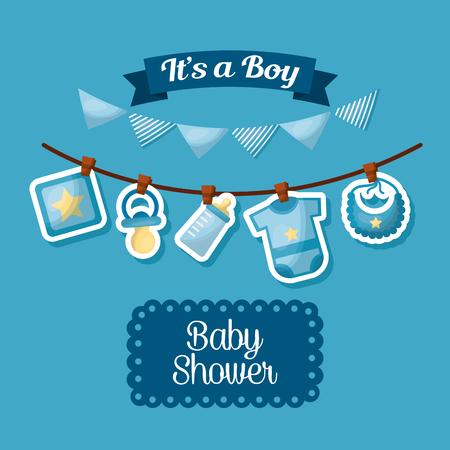 baby shower viering het is een jongen gelukkig geboren wimpels babe kleding vector illustratie Vector Illustratie