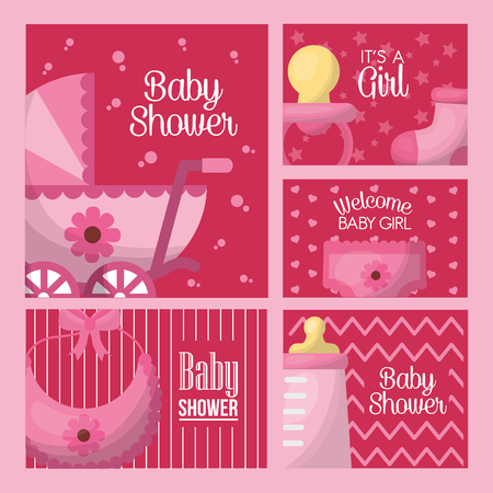 baby shower celebration pink labels born girl babe carriage bib bottle milk pacifier vector illustration