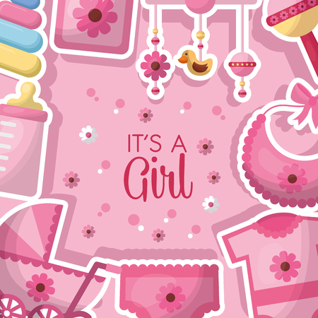 baby shower celebration pink clothes girl born bib pacifier toys vector illustration