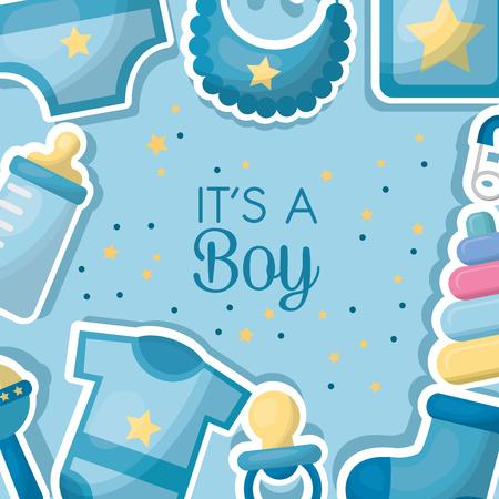 baby shower celebration clothes bib bottle milk background born boy vector illustration