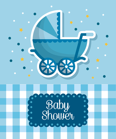 baby shower celebration blue babe carriage square background born boy happy vector illustration Illustration