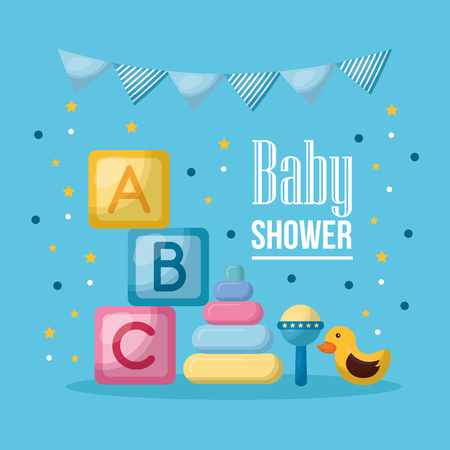 baby shower celebration pennants  cubes letters duck vector illustration