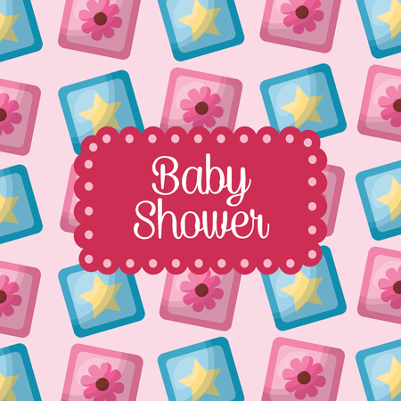 baby shower celebration cubes flowers stars background its girl vector illustration