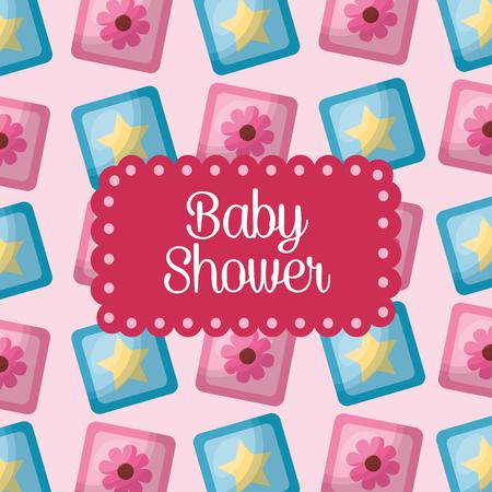 baby shower celebration cubes flowers stars background its girl vector illustration