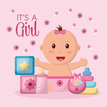baby shower celebration pink flowers background girl open arms smiling cubes toys bib vector illustration Illustration