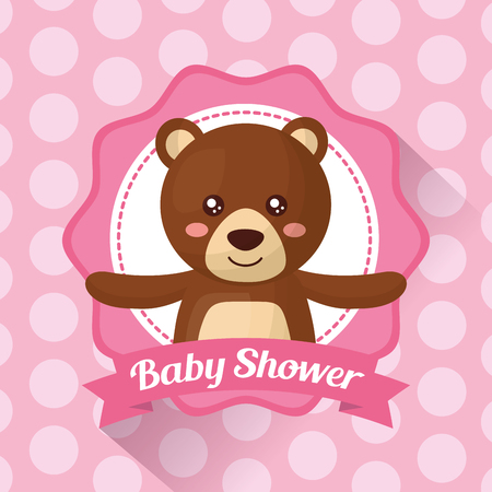 baby shower celebration stripe background sticker cute bear girl born vector illustration