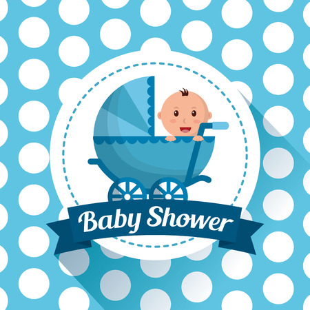 baby shower celebration dots background babe carriege boy smiling happy vector illustration