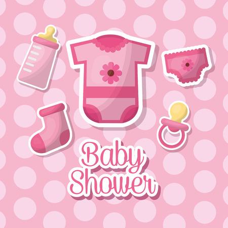 baby shower celebration girl pink clothes bib bottle milk vector illustration Illustration