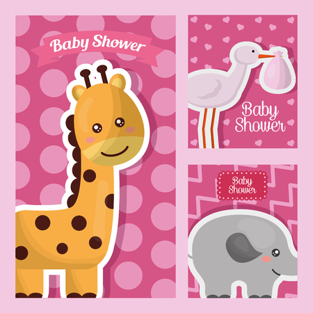 baby shower card labels with giraffe elephant stork animals pink background vector illustration Standard-Bild - 100592461