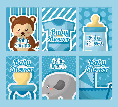 baby shower card labels boy born elephant bear clothe pacifier bottle milk babe carriege vector illustration Illustration