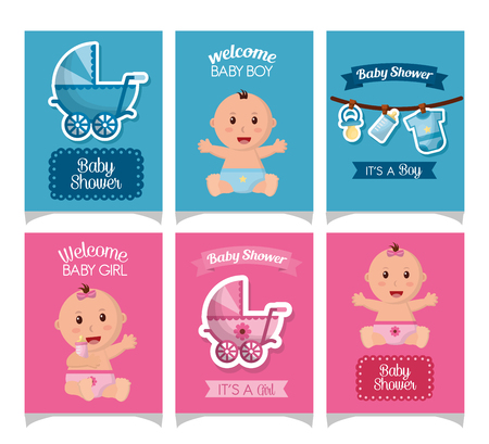 baby shower card strickers smiling girls boys babe carriege borns vector illustration Фото со стока - 100592544