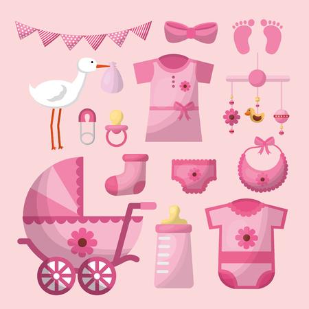 baby shower card stork pink pennant bottle milk clothes babe carriege girl day vector illustration Standard-Bild - 100592547