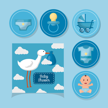 baby shower card sticker stork with babe pacifier carriege smiling boy vector illustration