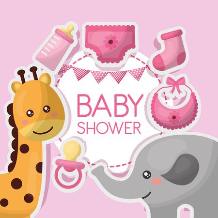 baby shower card clouds pink background giraffe pacifier bib clothes elephant girl celebration vector illustration Illustration