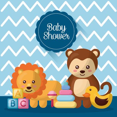 baby shower card   cubes duck cute animals boy born vector illustration