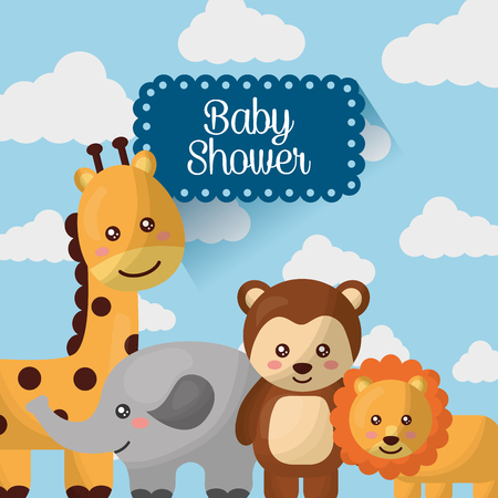 baby shower card giraffe elephant monkey lion smiling cute clouds background vector illustration