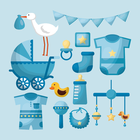 baby shower card boy clothes toys celebration day blue pennants stork vector illustration