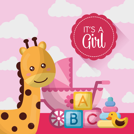 baby shower card happy giraffe cute pink babe carriege cubes toys vector illustration