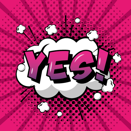 comic pop art speech bubble cloud yes text polka dots