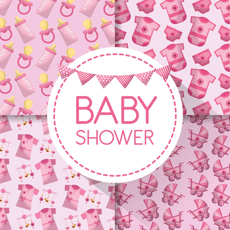 Baby shower label with clothes, baby carriage, pacifiers, bottle milk on pink background. Illustration