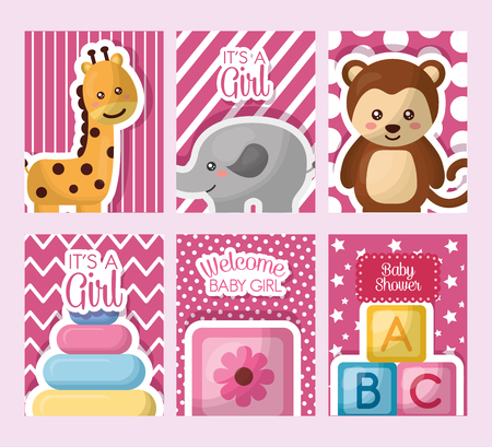 Baby shower card stickers toys with giraffe, elephant, monkey, cube, flowers girl vector illustration.
