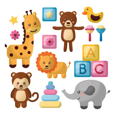 Baby shower card with giraffe, elephant, monkey, lion, cute animals toys, cubes vector illustration.
