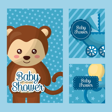 Baby shower card labels with cute monkey design illustration. Illusztráció
