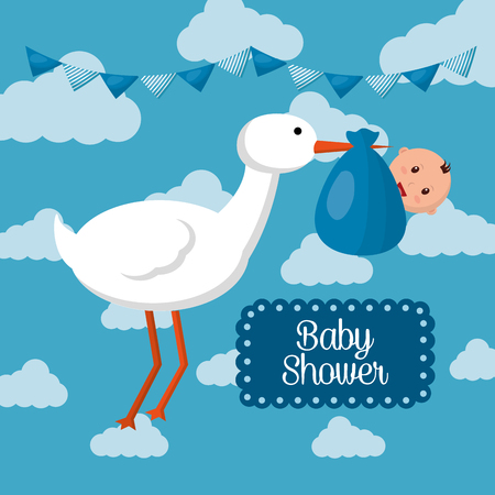 Baby shower card with cloud, stork with baby boy smiling, pennants celebration vector illustration.