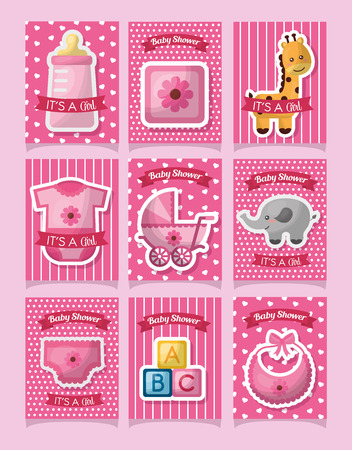 Baby shower card with clothes, cubes, toys, animal, cute girl born vector illustration. Иллюстрация