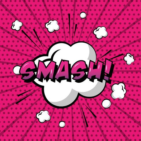 comic pop art speech bubble cloud smash dots background