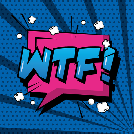 Comic pop art speech bubble wtf expression.
