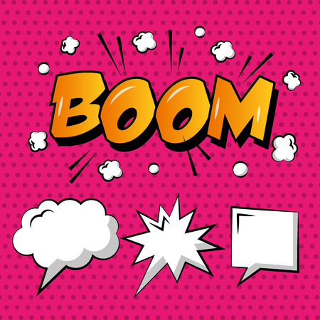 Comic pop art speech bubble boom cloud explosion polka dots.