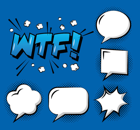 set of comic pop art speech bubbles wtf cloud explosion template