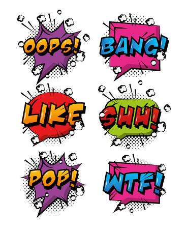 Comic pop art speech bubbles colored effects retro design.