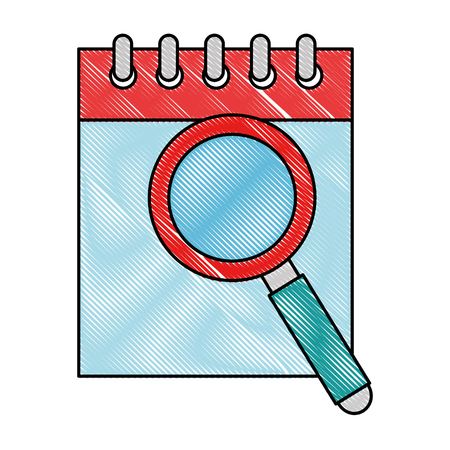 Calendar reminder with magnifying glass vector illustration design Illustration