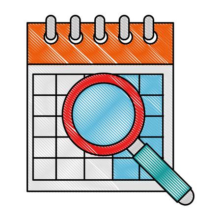 Calendar reminder with magnifying glass vector illustration design Ilustrace