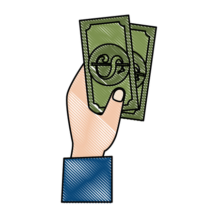 Hand with bills dollar money icon vector illustration design