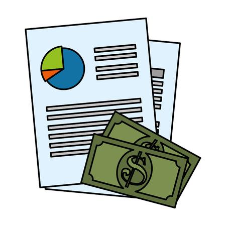 finance document paper and bills dollars vector illustration design