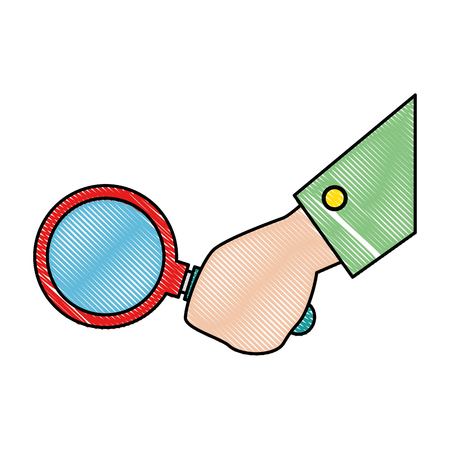 A hand with magnifying glass isolated icon vector illustration design Çizim