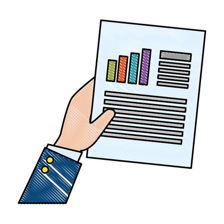A hand with finance document paper vector illustration design Ilustração