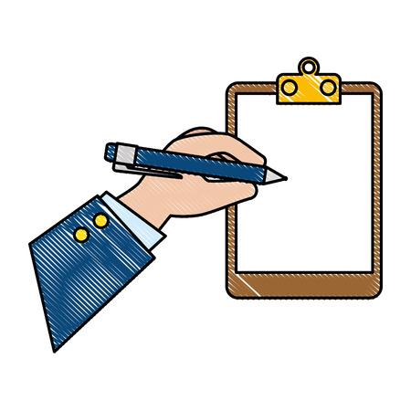 Escritura a mano en el portapapeles lista de verificación icono aislado diseño ilustración vectorial Ilustración de vector