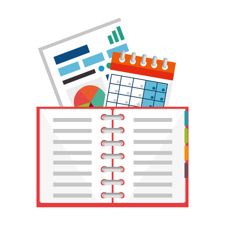 office notebook with calendar and documents vector illustration design Illustration