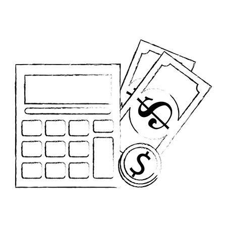 calculator with bills and coins vector illustration design