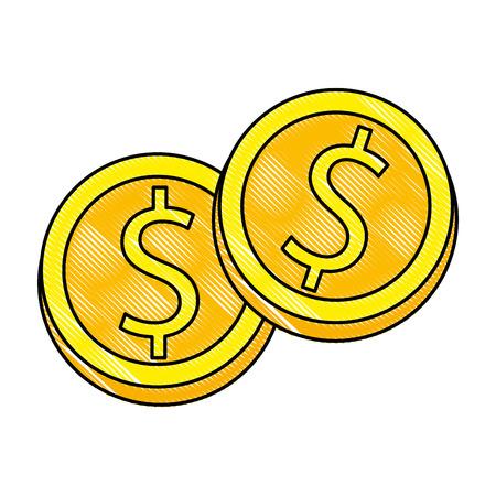 Coins money isolated icon vector illustration design. Illustration